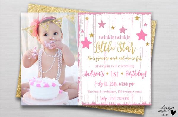 Little Princess Star Birthday Invitation Card