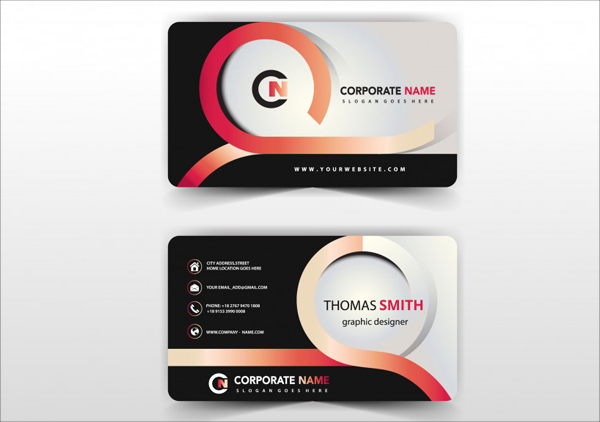 Modern Abstract Business Card Free Vector