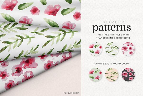 Modern Rose Watercolor Flower Patterns