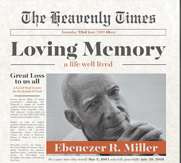 Newspaper Funeral Flyer Template