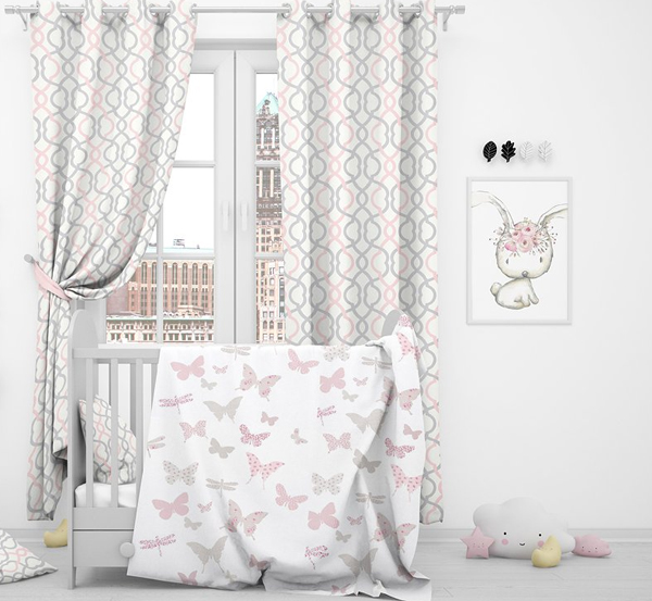 Nursery Bed Curtains and Pillows Mockup Pack
