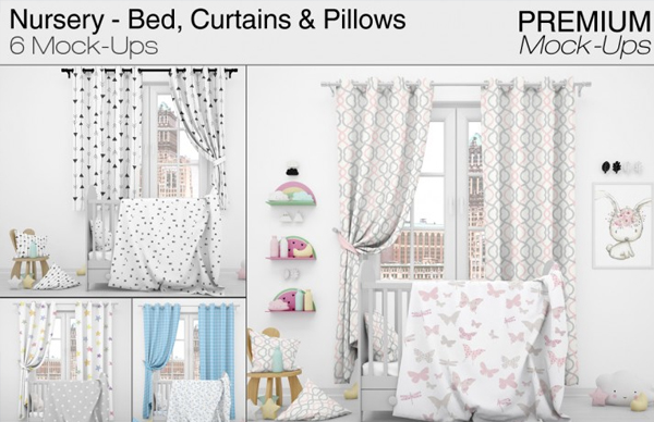 Nursery Bed and Curtain Mockup Templates