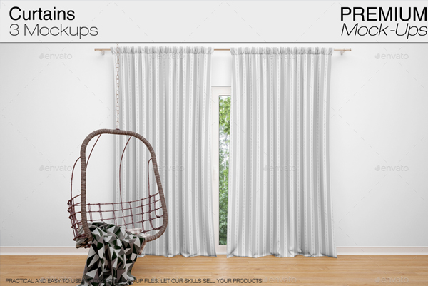 Unique Window Curtains Mockup Template