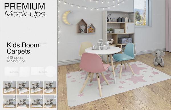 Photorealistic Kids Room Carpets Mockup