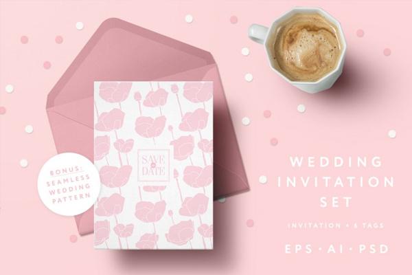 Pink Poppies Wedding Invitation Set
