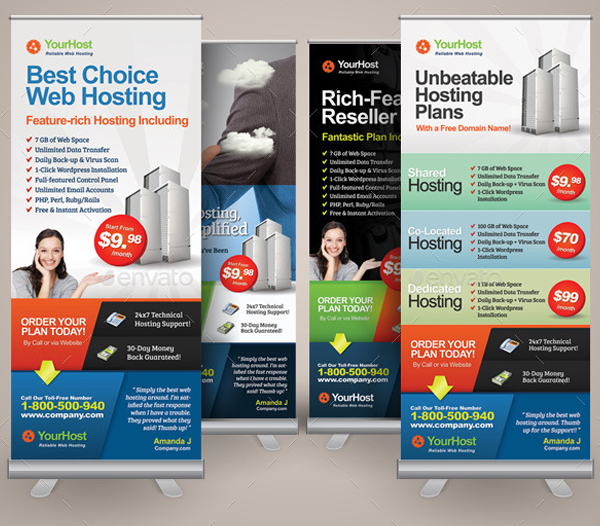 Premium Web Hosting Roll Up Banners