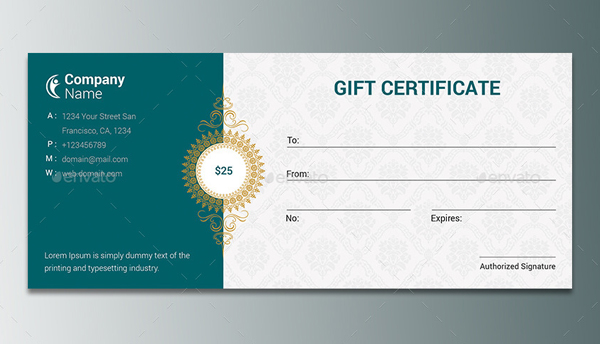 Printalbe Modern Gift Card Certificate