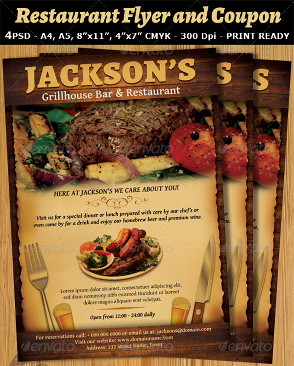 Restaurant and Bar Magazine Coupon Flyer