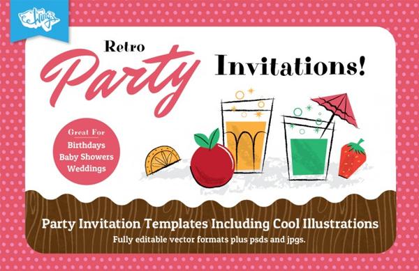 Retro Children's Party Dinner Invitation