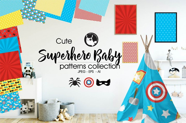 Superhero Baby Patterns Collection