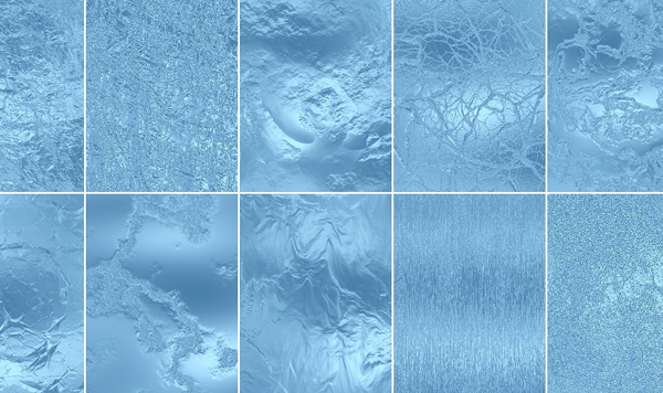Seamless Blue Color Stained Glass Texture Patterns Bundle
