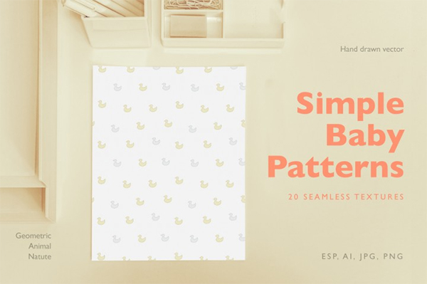 Simple Baby Vector Patterns and Textures