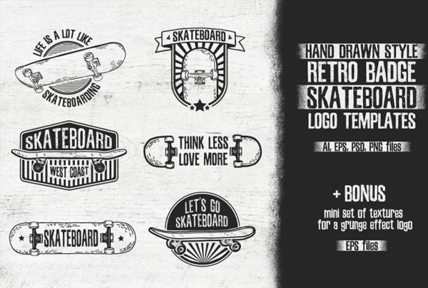 Skateboard Retro Logo Templates