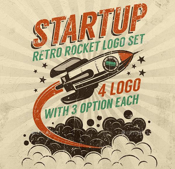 Startup Rocket Retro Logo