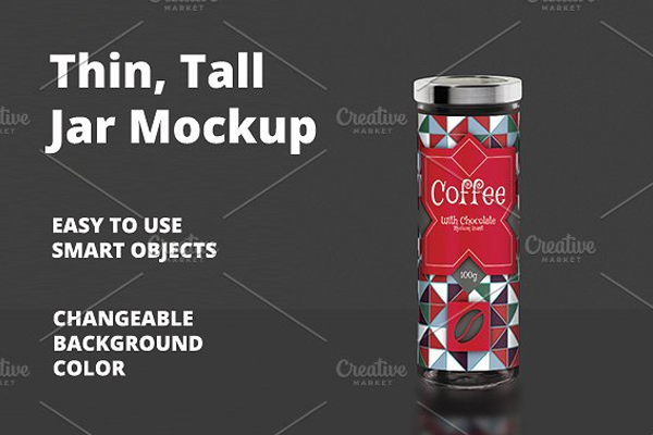 Thin Tall Jar Mockup Template
