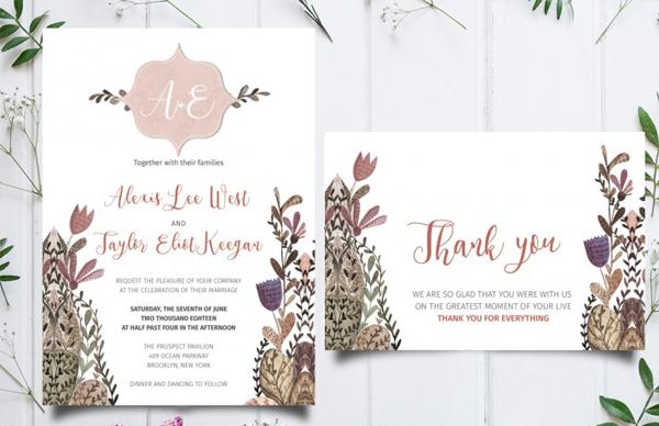 Unique Floral Wedding Invitation