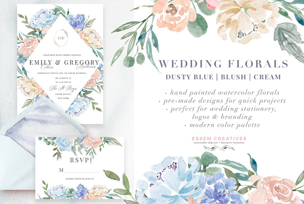 Watercolor Flowers Wedding Invitation Suite