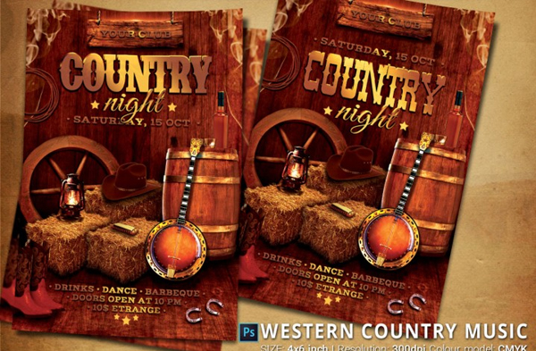 Western Country Music Party Flyer