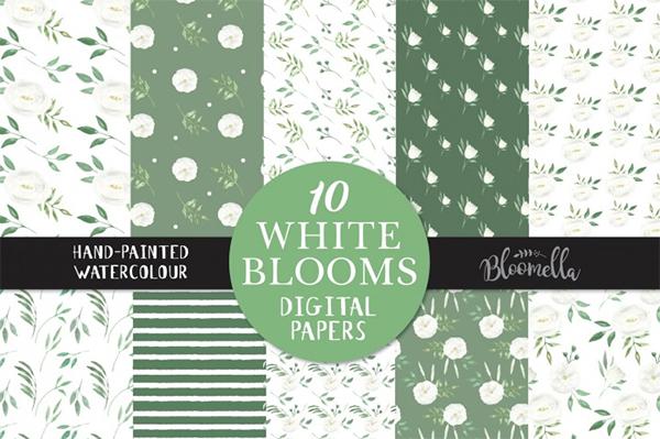 White Blooms Watercolour Floral Digital Pattern