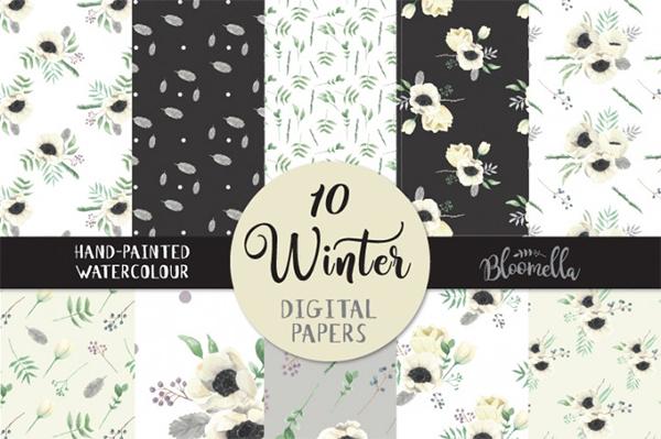 Winter Watercolour Floral Digital Pattern