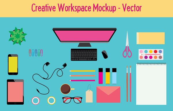 Workspace Mockup & Vector Icons