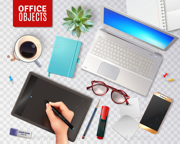 3D Office Objects Transparent Background