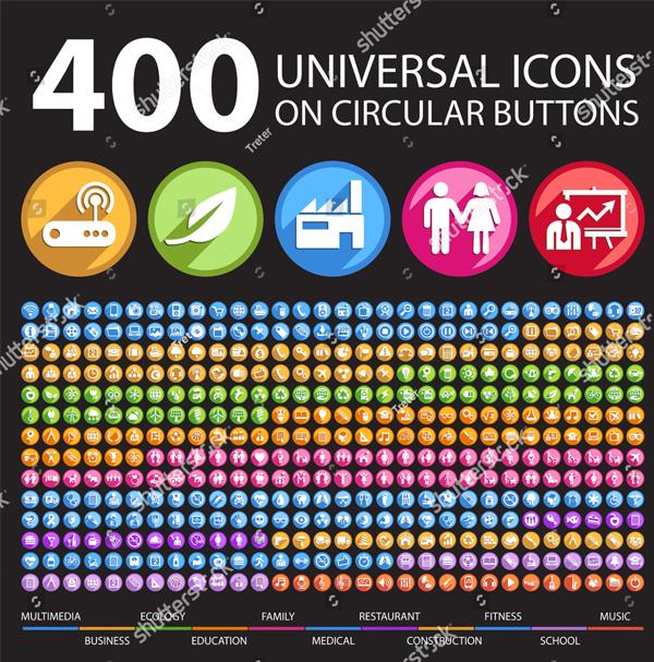400 Universal Circular Buttons
