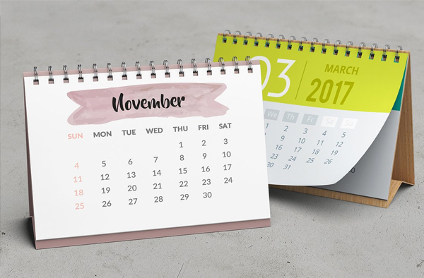 A5 Desk Calendar Mockup