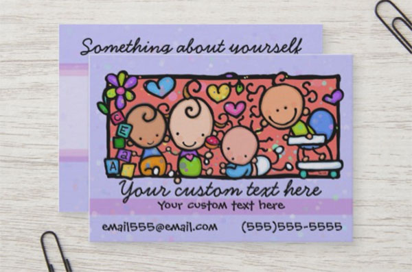 Babysitting Day Care Purple Business Card