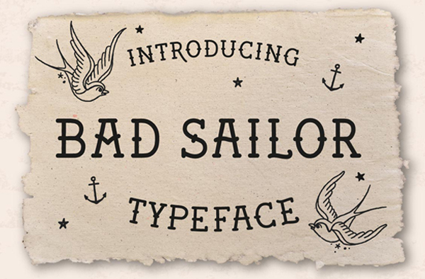 Bad Sailor Tattoo Lettering Fonts Template