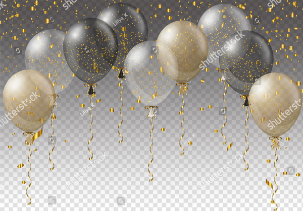 Balloons and Ribbons on Transparent Background
