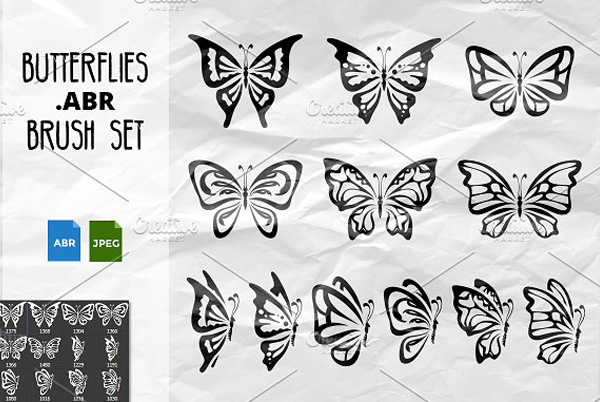 Beautiful Photoshop Butterflies Brush Set