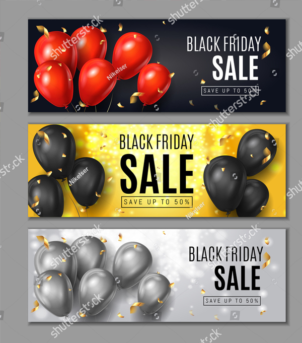 Black Friday Sale Horizontal Web Banners