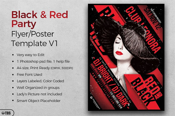 Black and Red Party Flyer Template