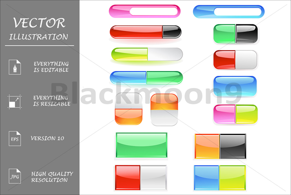 Bright Colored Glass Buttons