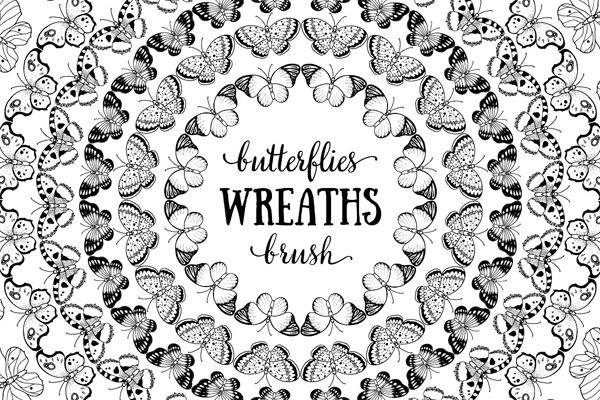 Butterflies Pattern Brushes Set