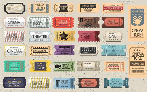Carnival Retro Tickets Vector set
