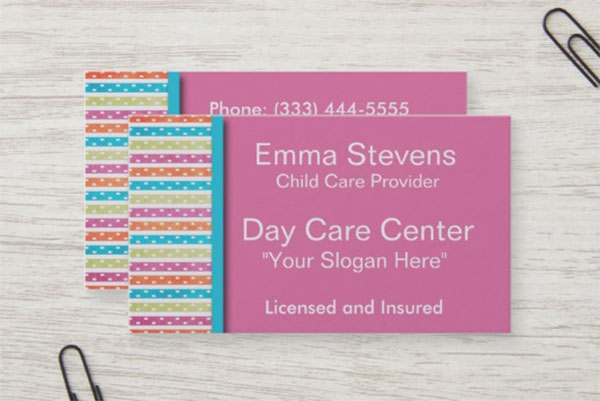 Child Care Pretty Lines and Dots Business Card