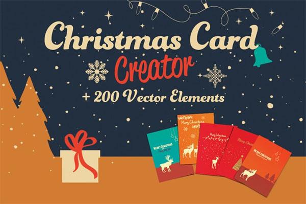 Christmas Gift Card Creator Elements