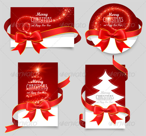 Christmas Gift Cards with Red Bows Templates