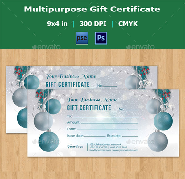 Christmas PSD Gift Certificate Template