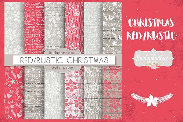 Christmas Red Rustic Digital Paper Pack