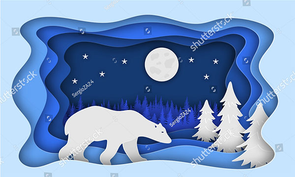 Christmas Tree and Bear Paper Background