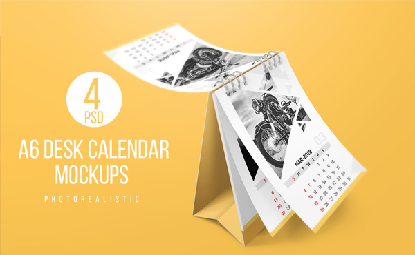 Colorful A6 Desk Calendar Mockups