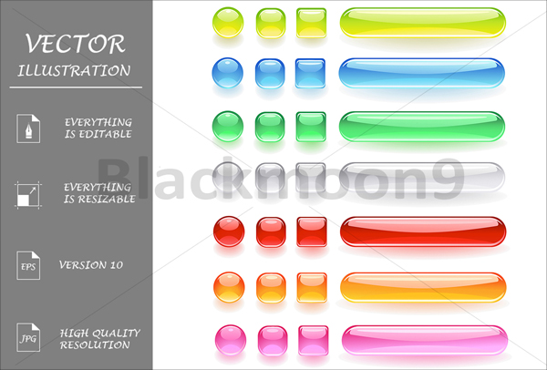 Computer Buttons from the Bright Colored Glass