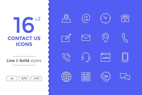 High Quality Contact Vector Icons