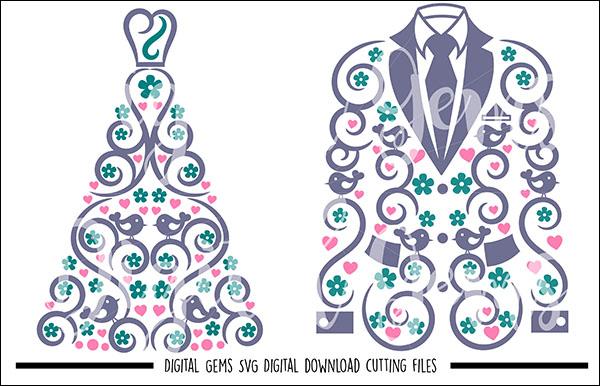 Crochet Wedding Dress and Suit Jacket