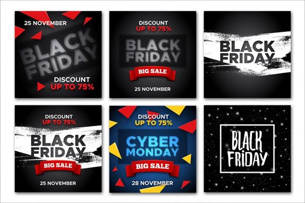Cyber Monday and Black Friday banners