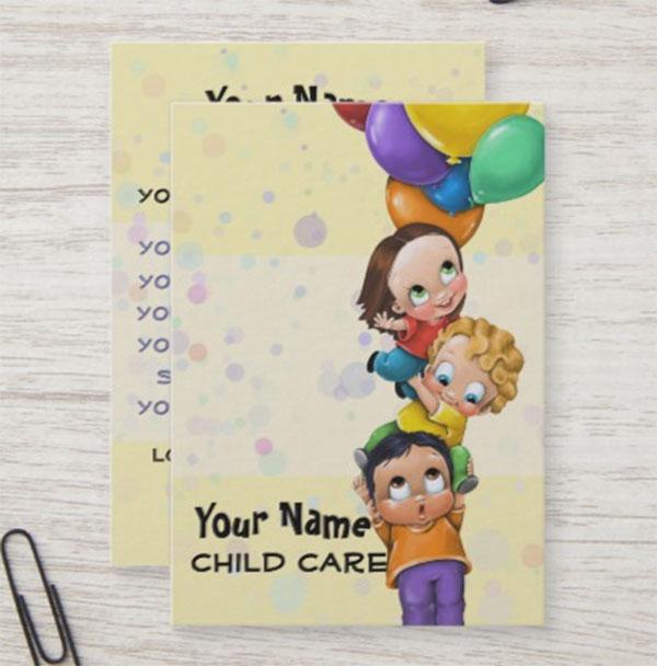 Child Care Babysitting Promo Card