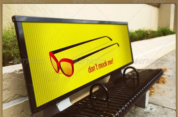 Digital Bus Stop Bench Signage Mockup Template